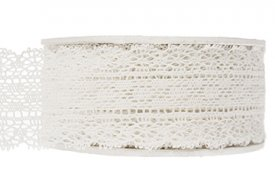 Lace ribbon, cream, 45 mm - A lot decoration