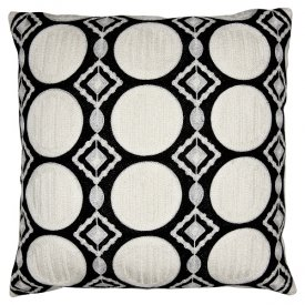 Cushion cover Circle, Black embroidery, 50x50 cm - Gate Noir