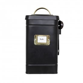 Hilma Tin jar, coffee, black/brass - Strömshaga