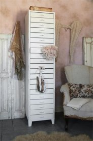 Chest of drawers high, metal, antique white - Jeanne d'Arc Living