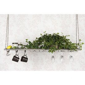 Shelf hanging with hooks & glassholders, Greyish Brown, two sizes - A lot Decoration