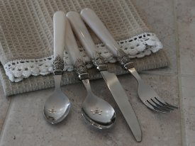 Cutlery silver deco, antique pearl, 16 pcs - Chic Antique
