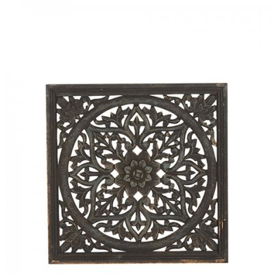 Wooden decoration, Carve flower, 45x45 cm, Black & Gold - Affari