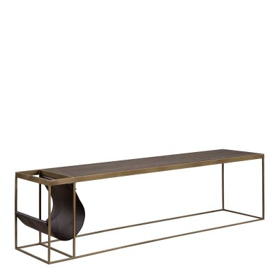 Soffbord Magazine Brass, 160 cm, Oak/Metal/Leather - Artwood