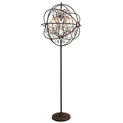 Gyro Floor Lamp, Antique Rust/Crystal - Artwood