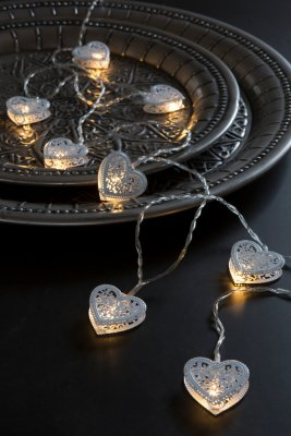 Led Light, with ornament hearts, white - Majas Cottage