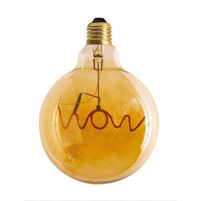 Words LED Filament, Wow, Globe 125mm, 4W gold - Pr Home