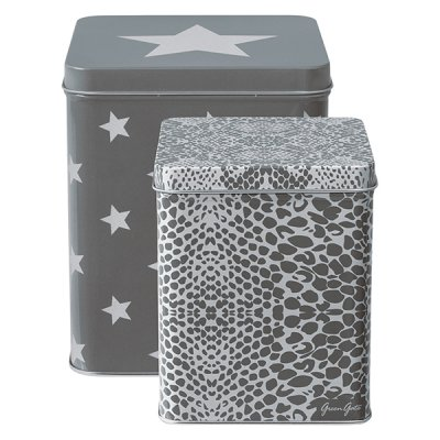 Plåtburkar Alli warm grey, 2-pack - GreenGate