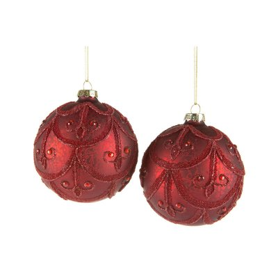 Christmas ball Baroque, dark red, 4pcs - A lot decoration