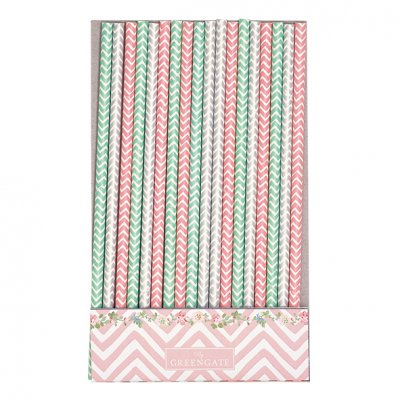 Sugrör Ziggy pink, 20-pack - GreenGate
