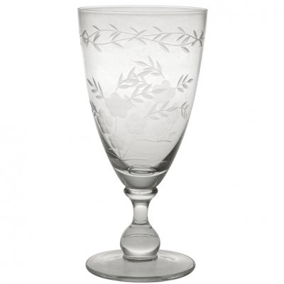 Wine glass w cutting clear, large - Greengate