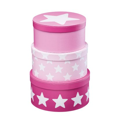 Pappbox Star, rosa, 3-pack - Kids Concept